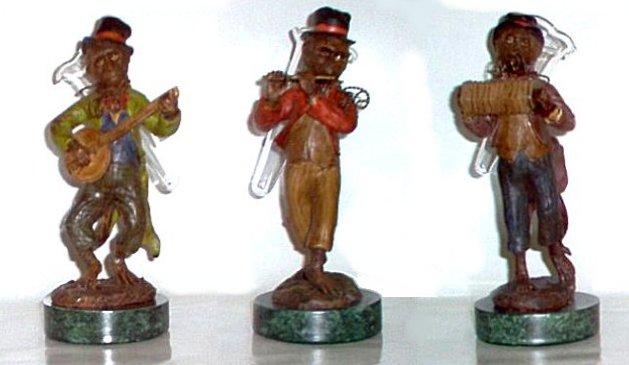 Monkey Musician Trio Vases