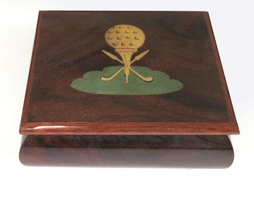 Golf Ball on Tee Italian Inlay on lid of Music Box