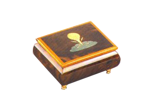 Golf Ball on Tee Italian Inlay on lid of Music Box