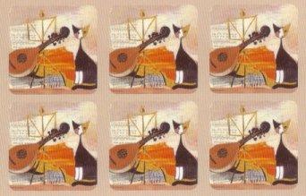Pimpernel Musical Cat Coasters   Set of 6