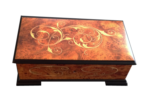 Graceful Scroll Italian Inlay on large Elm Musical box