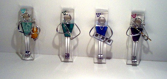 Judaica - Stained Glass  Mezuzahs for Musicians