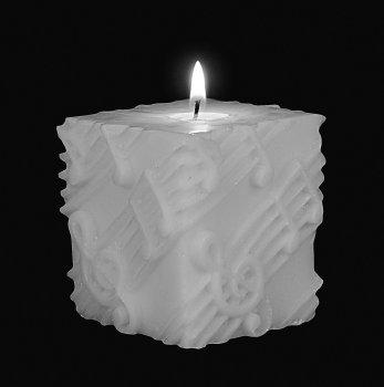 Square Pillar Candle White on White