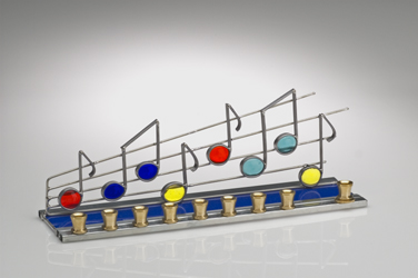 Menorah Stained Glass Musical Notes