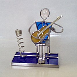 Stained Glass Pen Holder with Seated Musician
