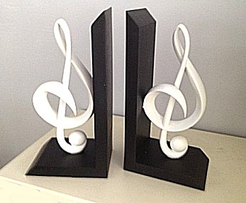 Bookends black and white g clef - Treble clef bookends ...