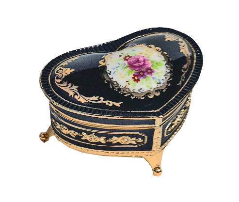 Heart Shaped Enamel Ring Box with Floral Medalian Design