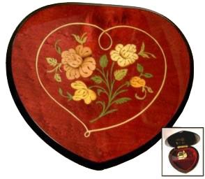 Heart Shaped Musical Box in Red Wine