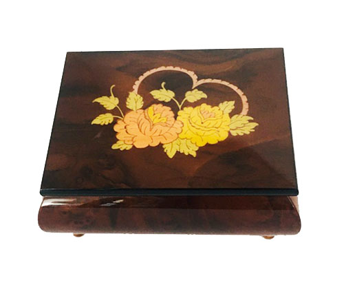 Heart with two FLowers adorn lid of walnut finish box