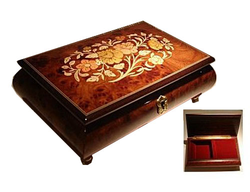 High Gloss Elm Musical Box with Italian Inlay of Oval Floral Design
