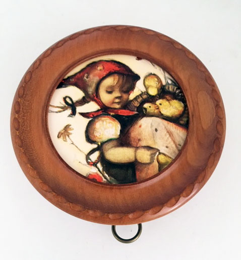Hummel Pullstring with Girl and Chicks in Carved Frame by Jobim
