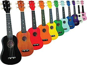 Diamond Head Saprano Ukuleles in various colors