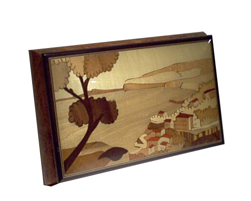 Inlaid Scene of Italy with Tree on burled Elm
