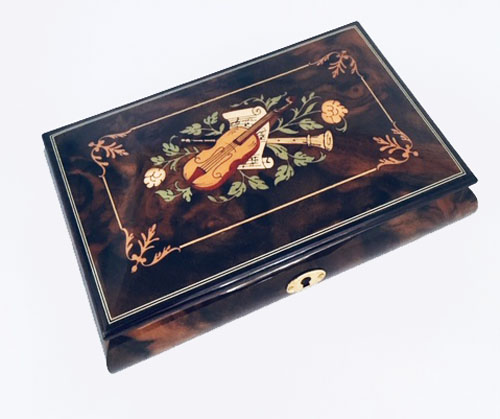 Instrument Inlay within Ornate Frame on Dark Elm Music Box