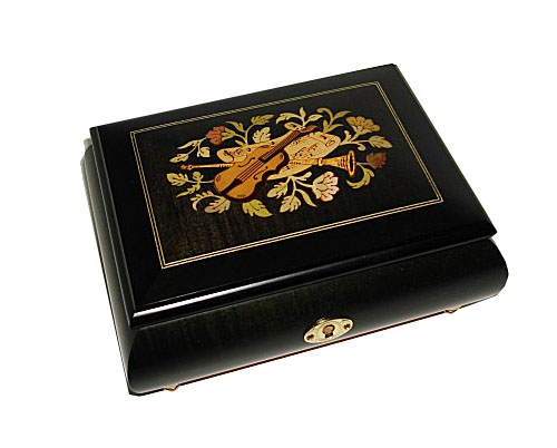 Instrument Inlay on Ebony Finish Musical Box