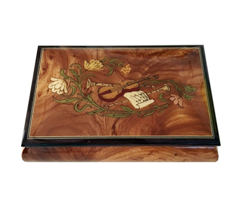 Instrument Inlay with flowers on Elm Musical Box
