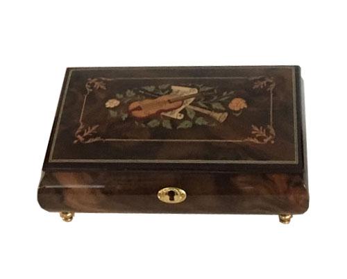 Instrument Inlay with Ornate Border on Dark Elm Music Box