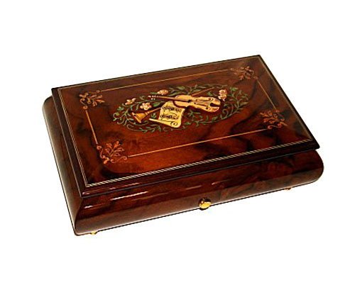 Instrumental and Floral Inlay Music Box 50 Notes