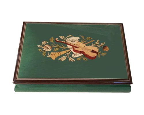 Instrumental Inlay with flowers on Green Colored music Box