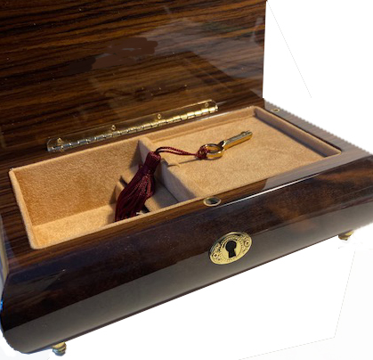 Interior view of Inlaid Dancing Couple Musical Box.