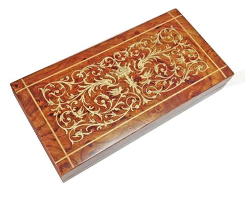 Intricate Scroll Italian Inlay on Elm Musical Jewel Box