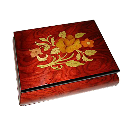 Floral Pattern inlay on wine finished elm box
