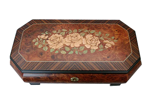 Italian Floral Inlay with Walnut Border on Large Elm Music Box