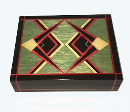 Angular geometric italian inlay on black music box