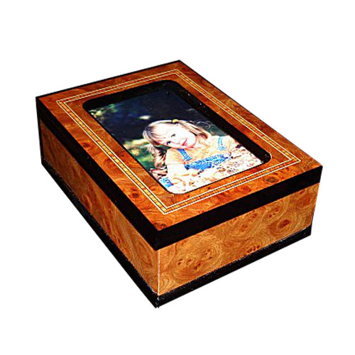 Upscale Inlaid wood Photo Frame 36 note  Music Box