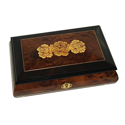Italian Inlay of Three Flowers on Elm Musical Box with Walnut Border
