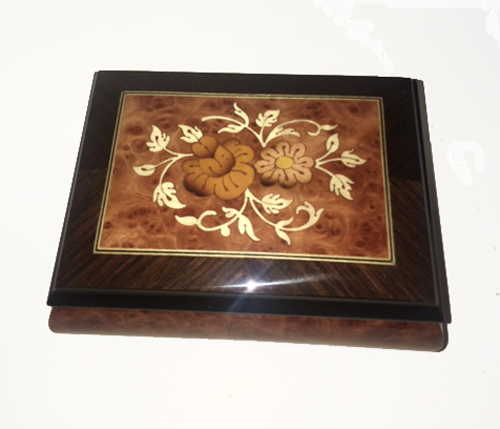 Italian Floral inlay on burl elm music box with walnut border