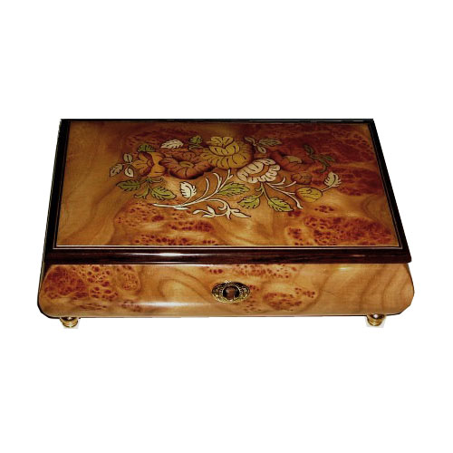 Italian Marquetry Floral Pattern on burl Elm Music Box