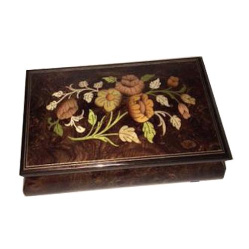 Inlaid Flowers on Natural dark elm Musical Box