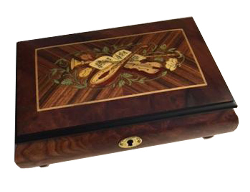 Italian Music Box with Instrumental inlay in elm with wide border