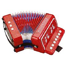 child's red toy accordian