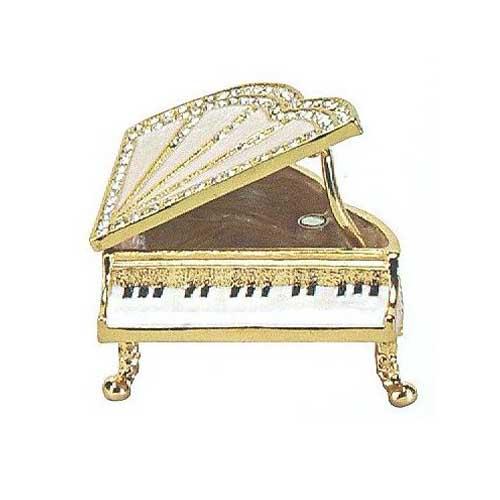 Jeweled White Baby Grand Piano Trinket Box