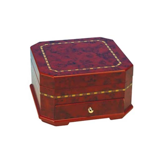 Jewelry Box Octagon Shaped Brown with Ballerina