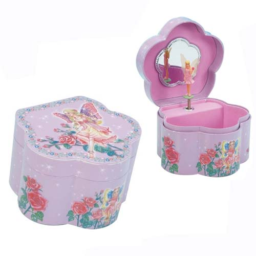 Jewelry Box with Fairy Ballerina in Flower Shaped Box