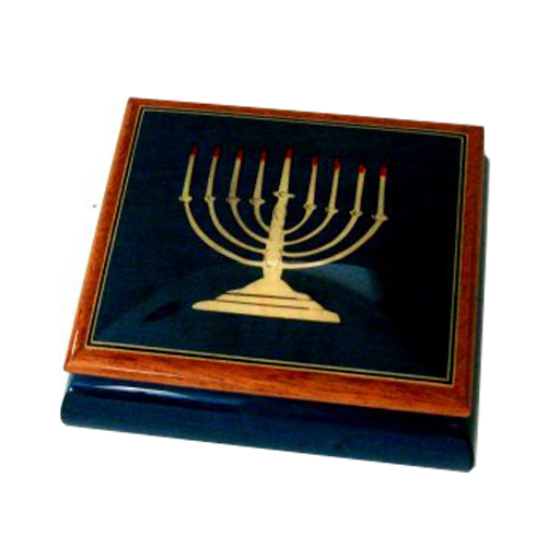 Judaica - Menorah Inlay on Blue or Elm Musical Box