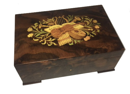 Straight Lined Walnut Musical Box with Floral and Instrumental Inlay