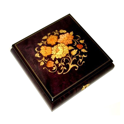 Large Square Purple Musical Box with Italian floral Inlay