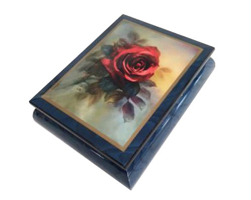 Lena Liu Red Rose on Blue Box