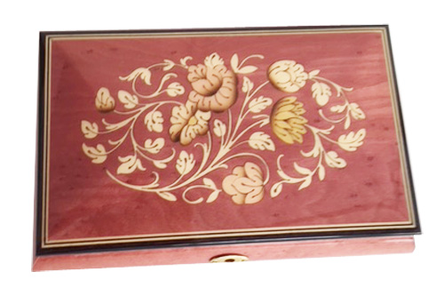Light Wine Floral Inlay on Burled Elm music box
