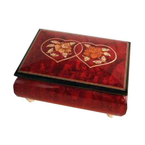 Italian inlay of linked hearts on wine red music box