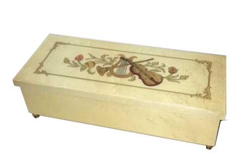 Long and Narrow White Musical Box Violin Inlay