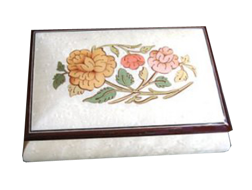 Love Me Tender - Floral Inlay on White Musical Box