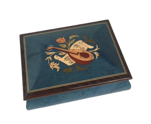 Instrumental Inlay with flowers on Blue Colored music Box