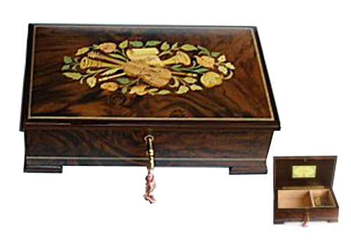 Matte Finished Rosewood Box with Musical Instrument