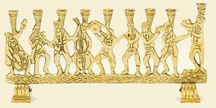 Judaica - Hanukkah Menorah Brass Musicians