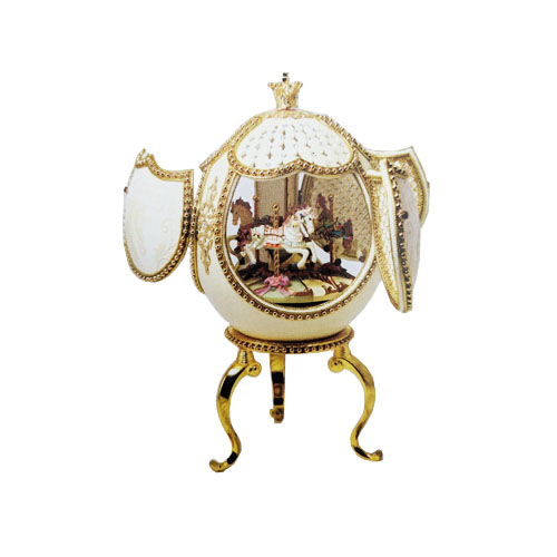 Musical Ornate Merry Go Round Ostrich Egg